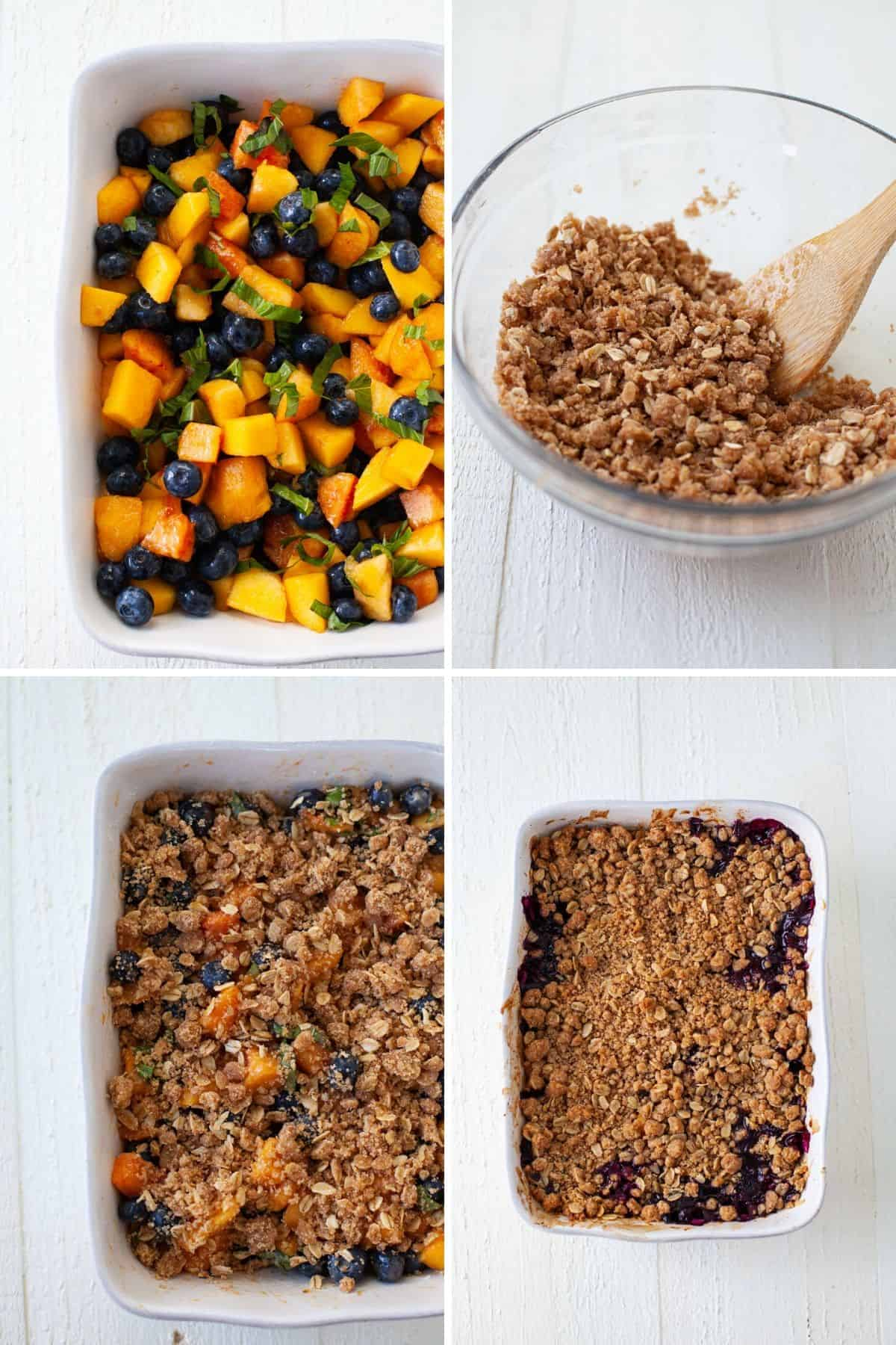 four photos showing the process of making blueberry peach crisp with baking dish and mixing bowl