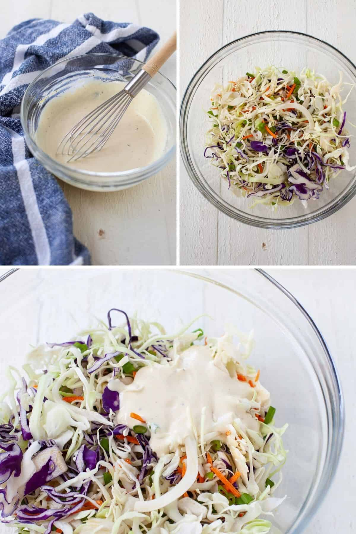 three pictures showing the Greek yogurt mix in one bowl with coleslaw mix in another bowl