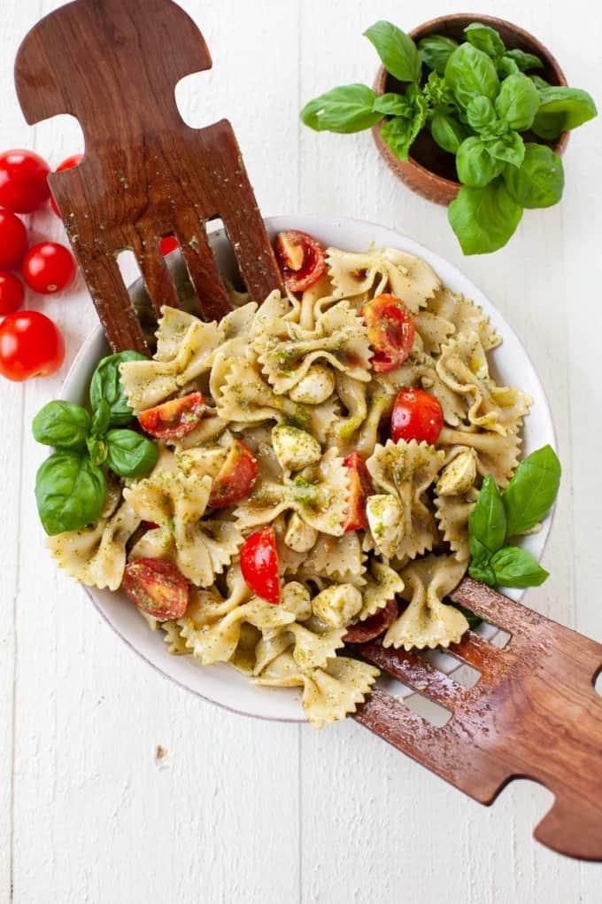 Caprese Hemp Pesto Pasta Salad with Tomatoes and Basil
