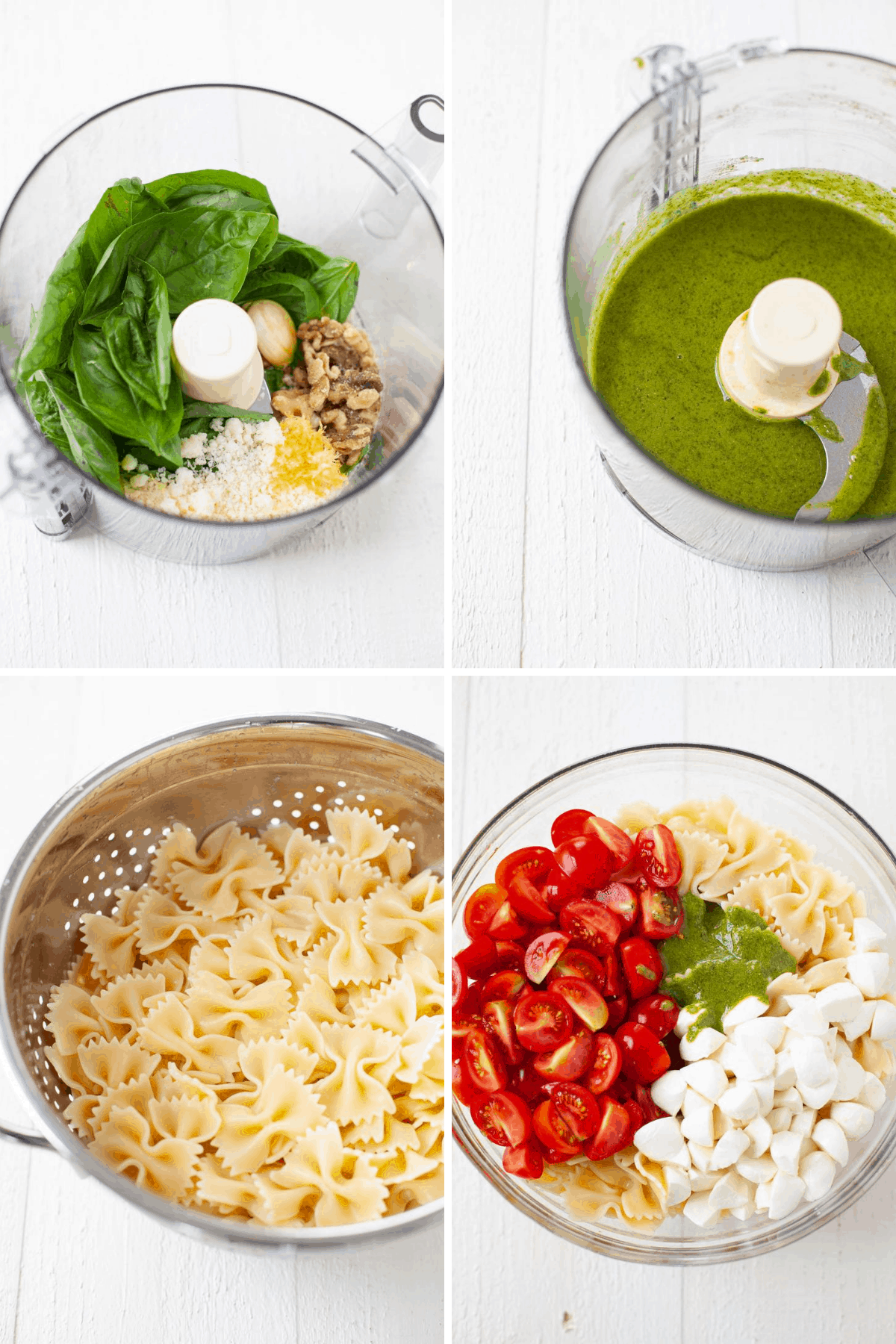 pesto ingredients in food processor, cooked pasta in a colander, and pasta, tomatoes, and caprese in a bowl