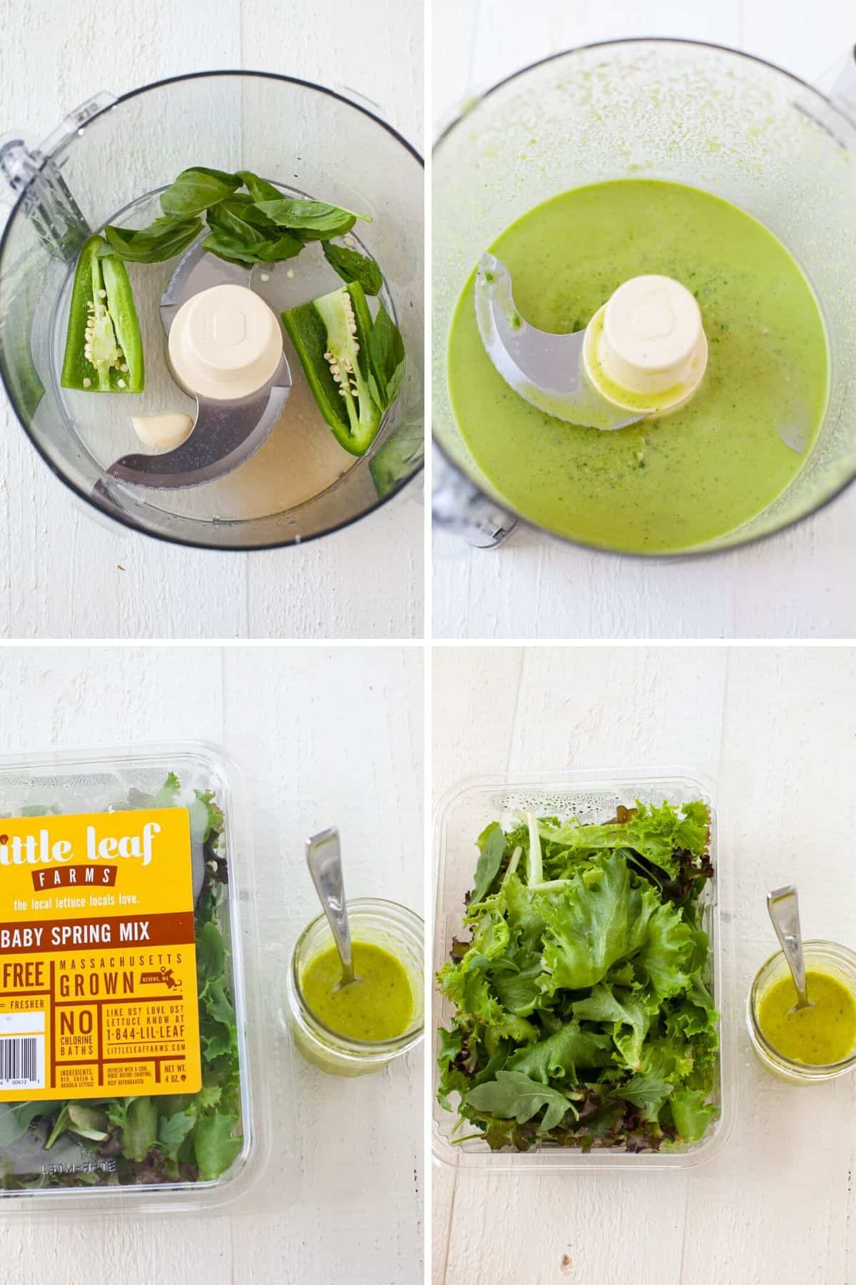 four images showing salad dressing before and after it's blended in a food processor