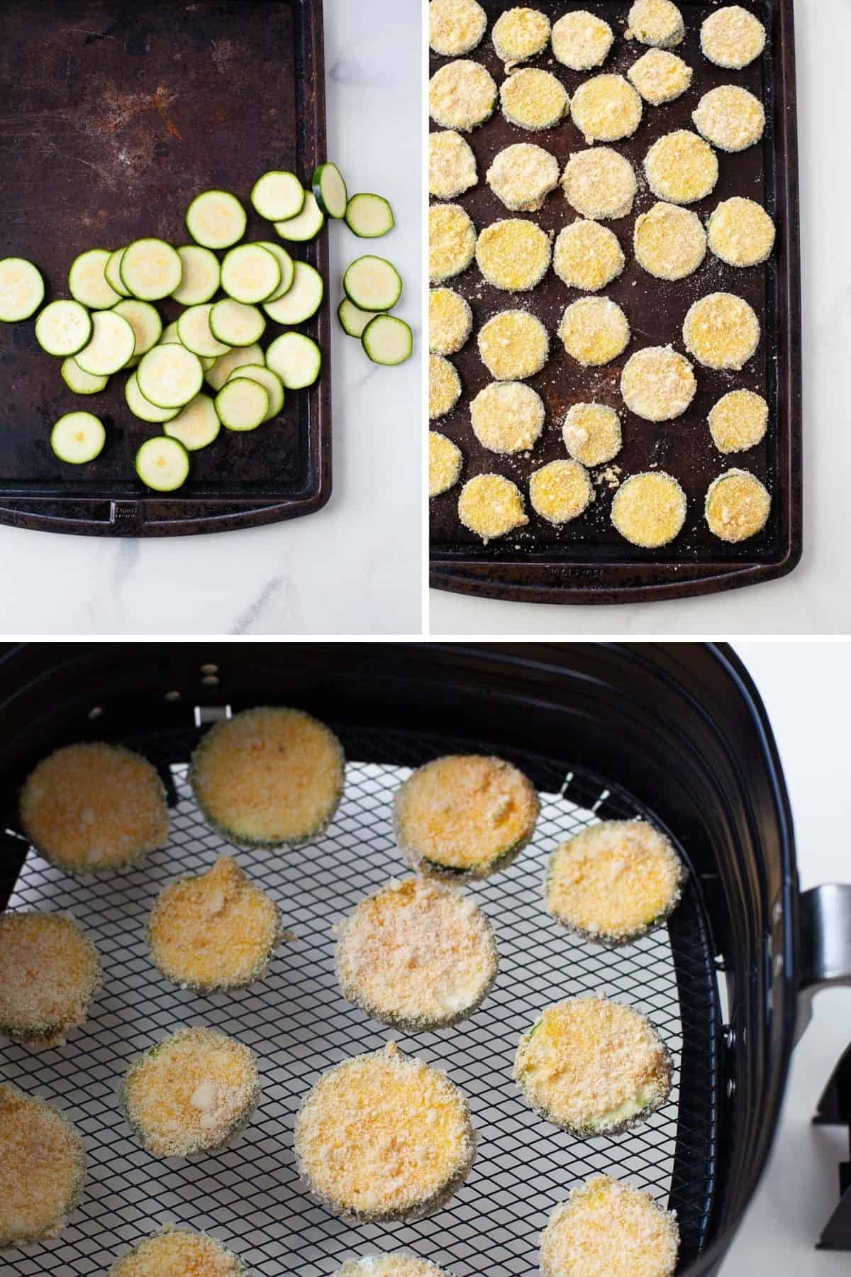 photos showing slices of zucchini on baking sheet with homemade breading being placed in air fryer