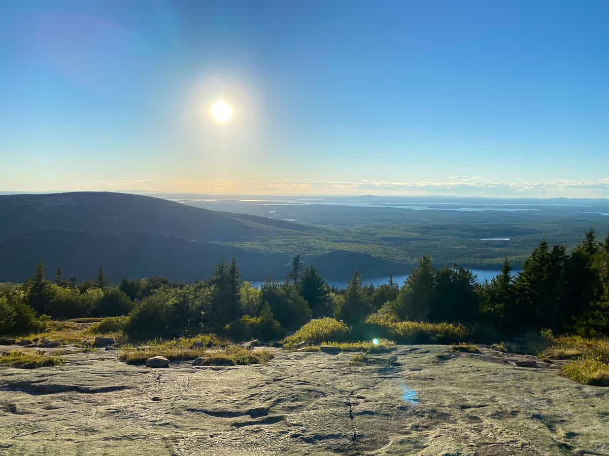 sunset over Cadillac Mountain in Bar Harbor, Maine