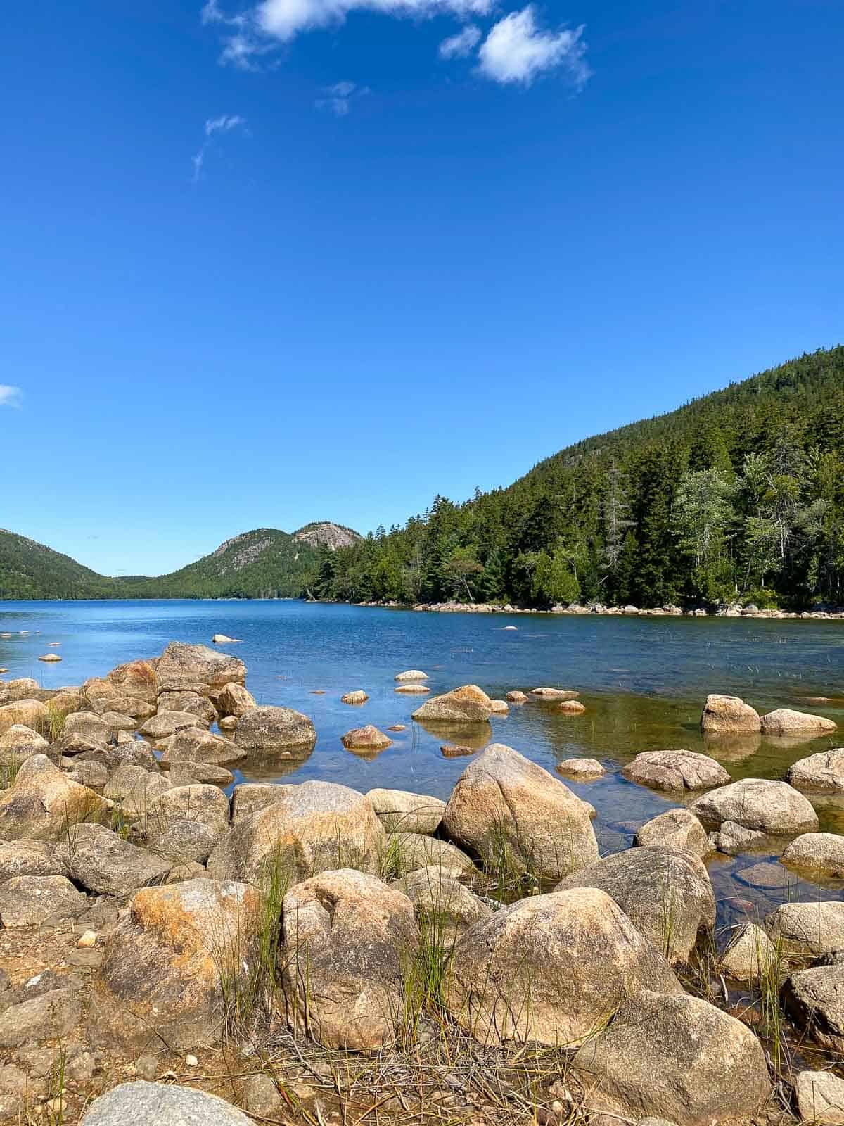 views of Jordan Pond in Bar Harbor, Maine