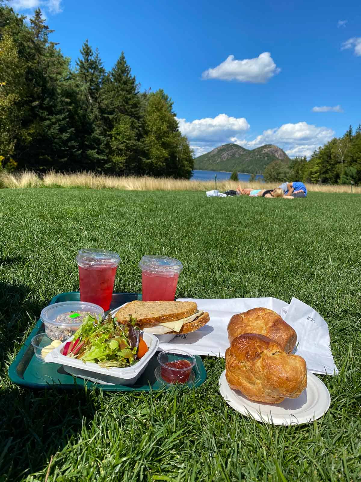 two meals from Jordan Pond House and two drinks set up for a picnic