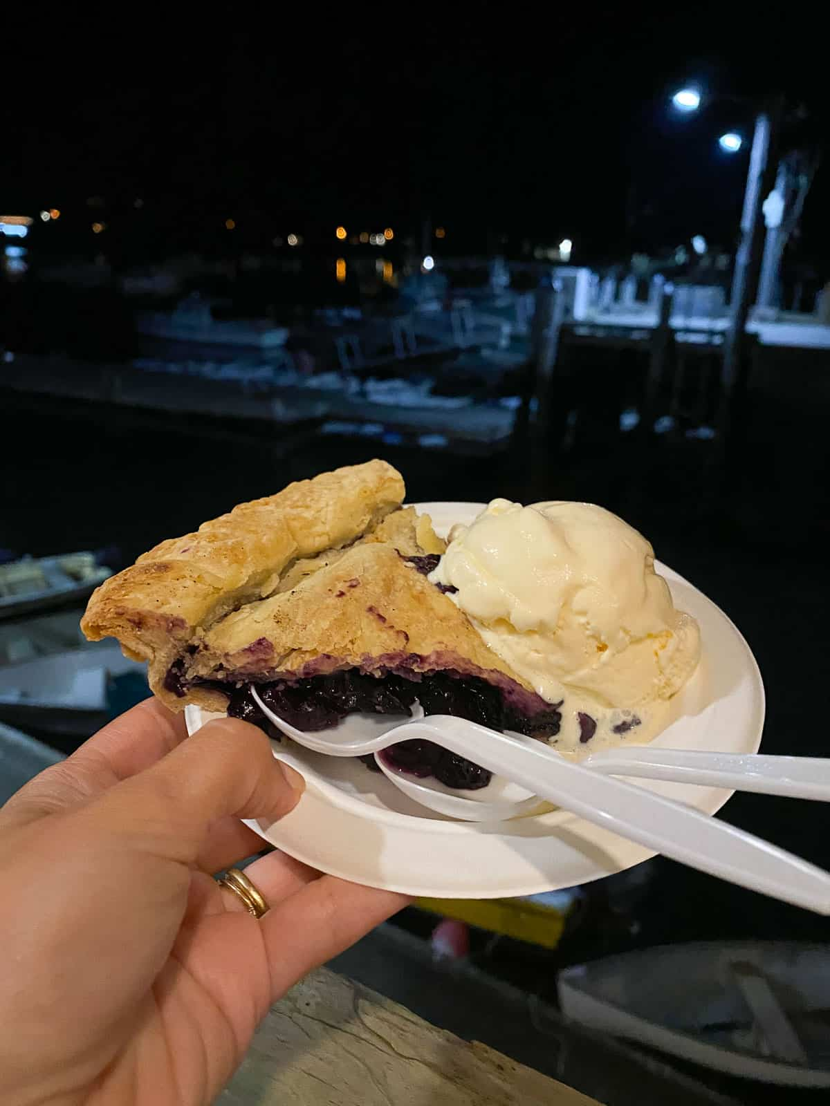 slice of wild blueberry pie with scoop of vanilla ice cream