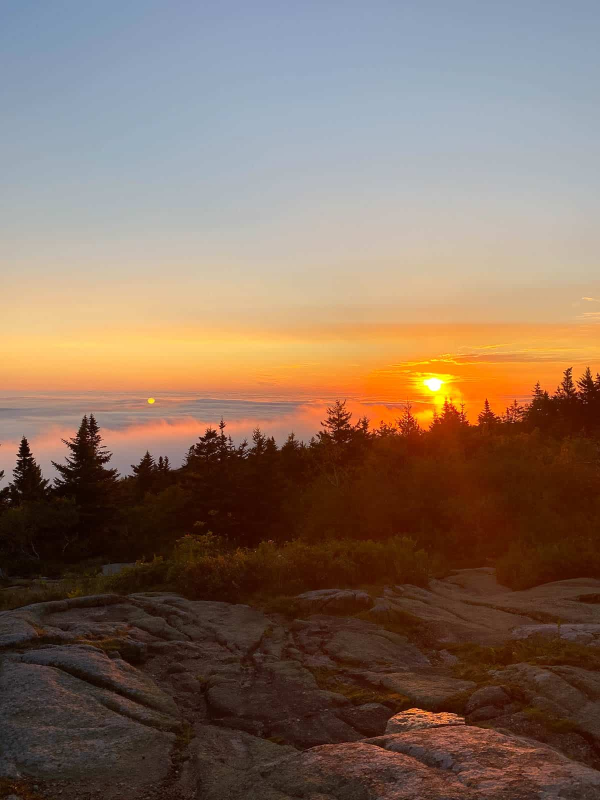 sunrise at Cadillac Mountain near Bar Harbor, Maine
