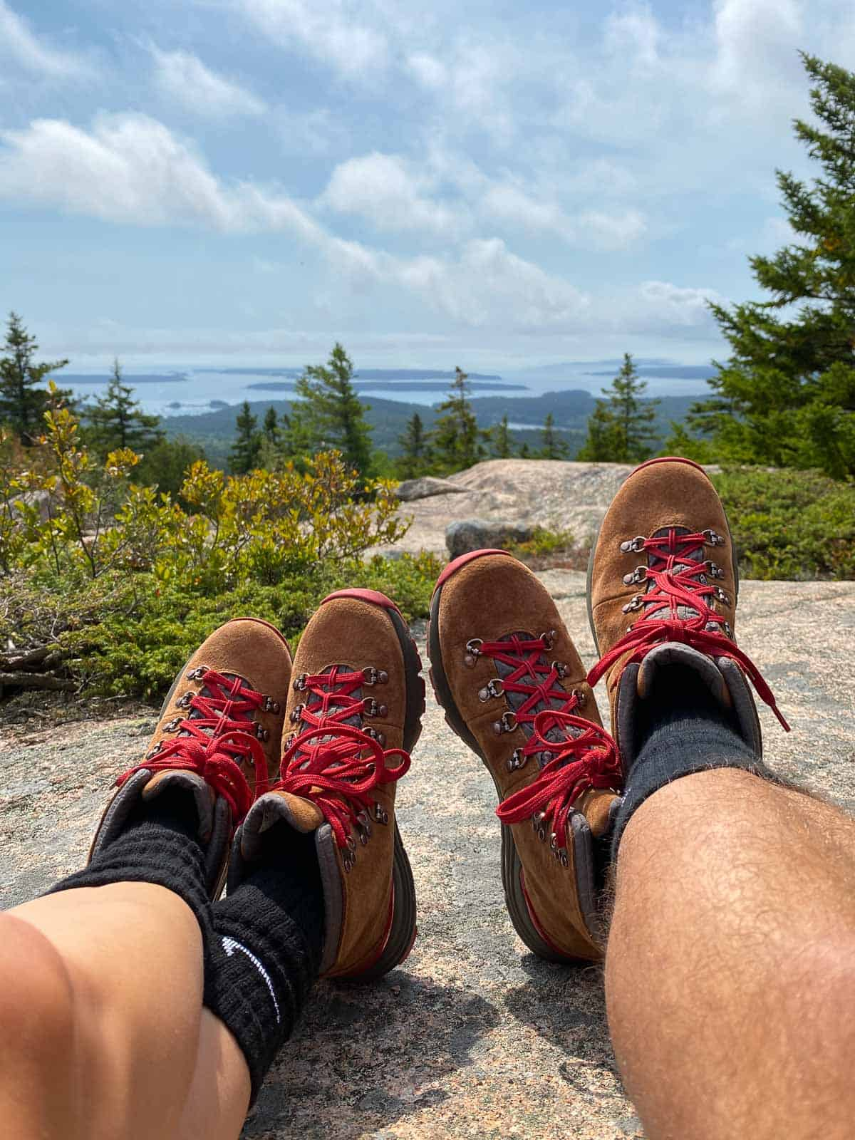 matching hiking boots being worn on a hike