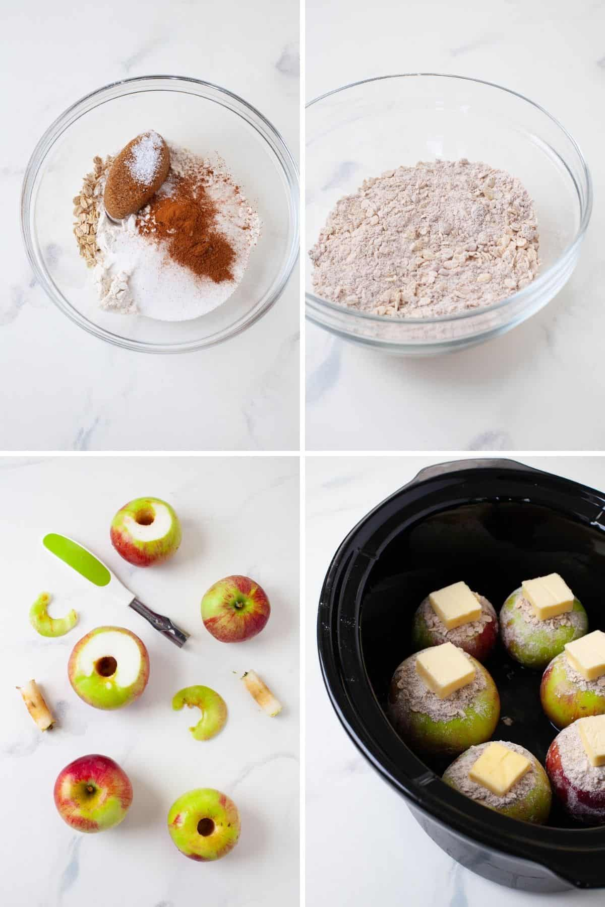 flour, cinnamon, sugar, and oats in bowl, apples with cores removed, and apples in slow cooker