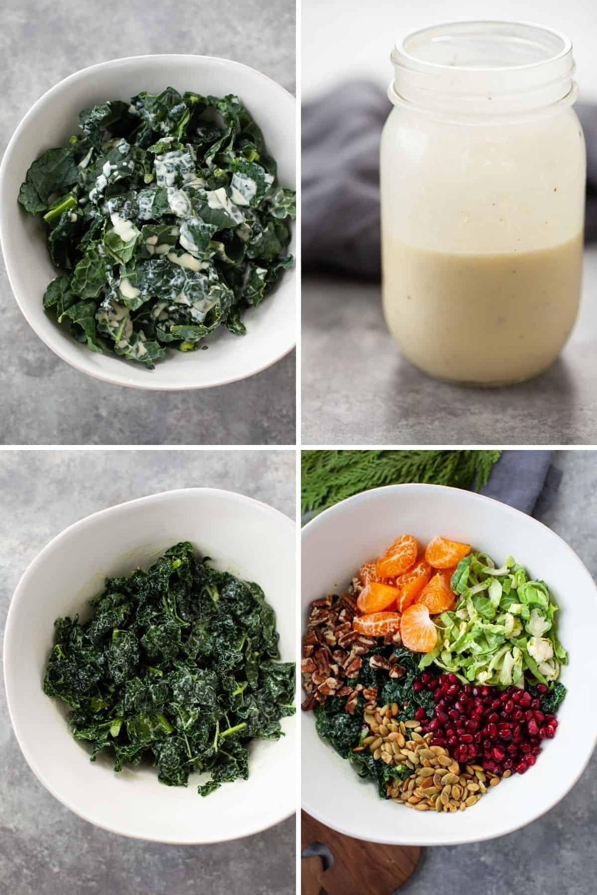 three photos showing bowl of kale salad and another photo showing a mason jar filled with Greek dressing