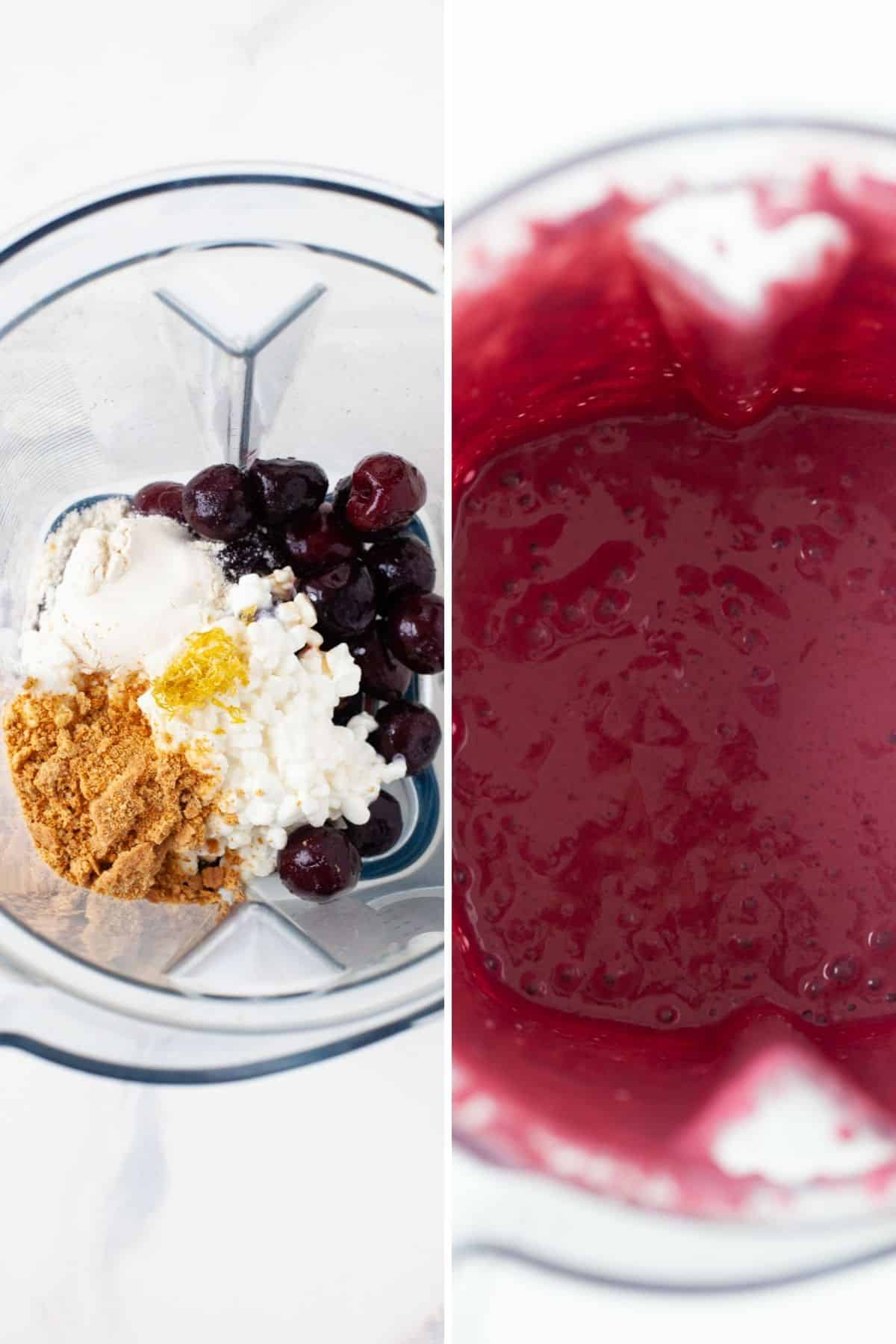 cherry smoothie bowl ingredients top view of blender with cherries, cottage cheese, protein powder, graham crackers