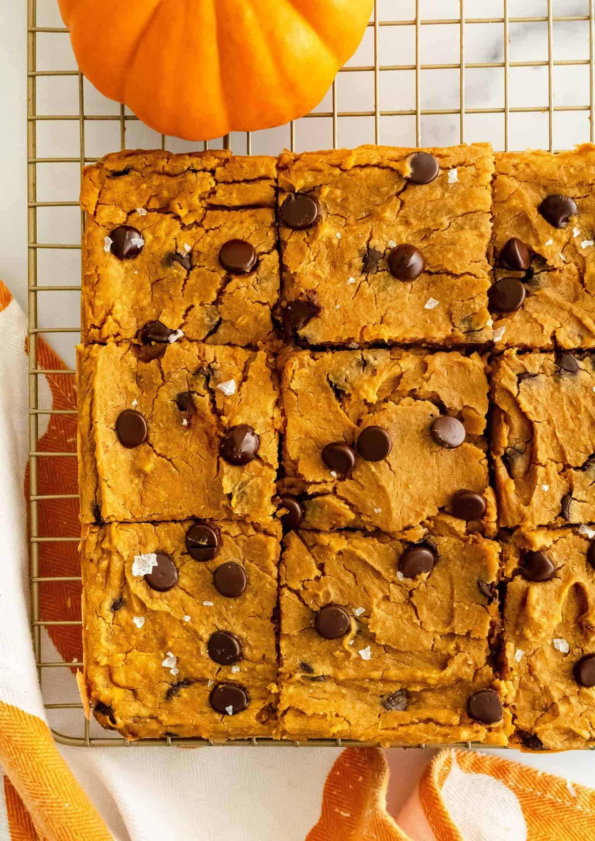 Half tray of golden blondies studded with chocolate chips and sea salt on gold cooling rack