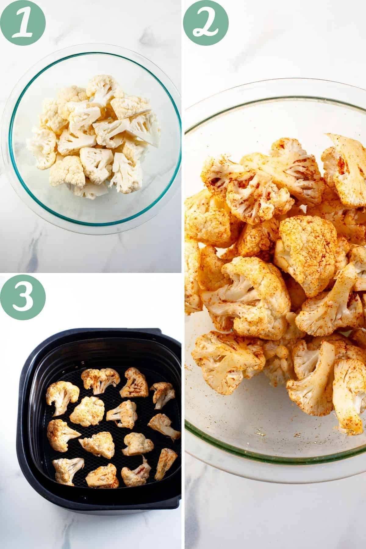 step by step air fryer cauliflower in clear bowl, olive oil, garlic powder, paprika, salt