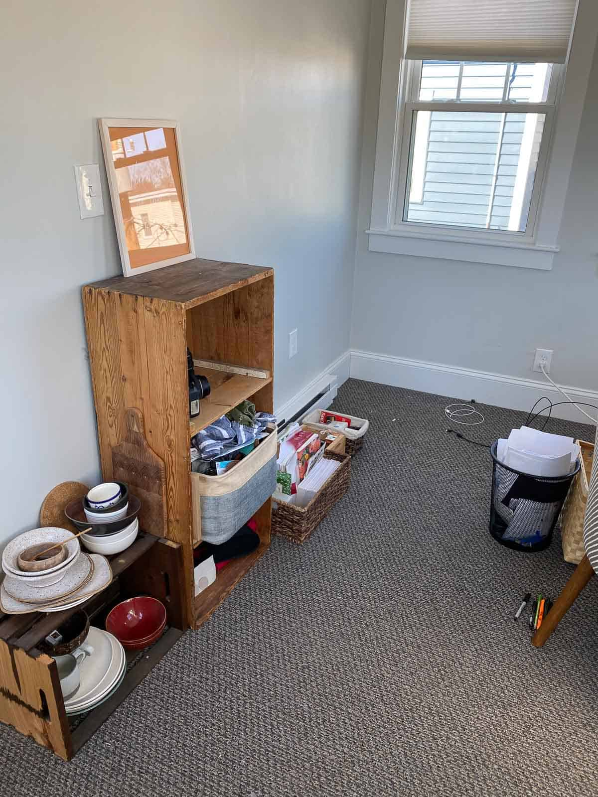 kara lydon second trimester pregnancy reorganize office room nesting project cleaning before photo