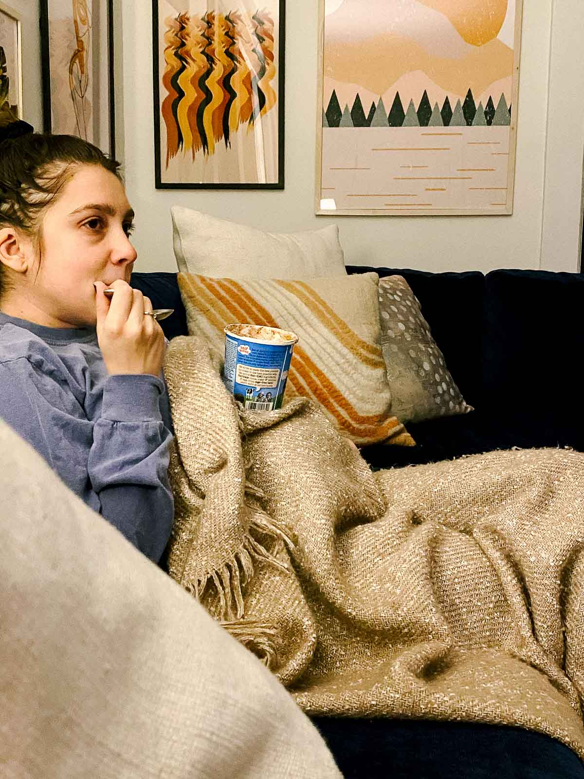 kara lydon second trimester pregnancy pregnant journey ice cream ben and jerry's resting on pregnant belly