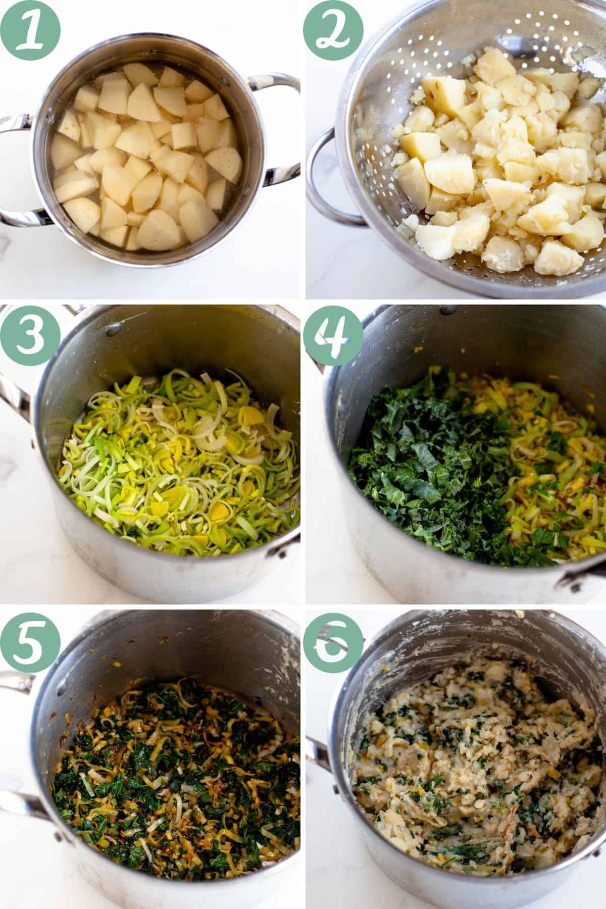 step by step instructions for making vegan colcannon in a pot with potatoes, leek and kale