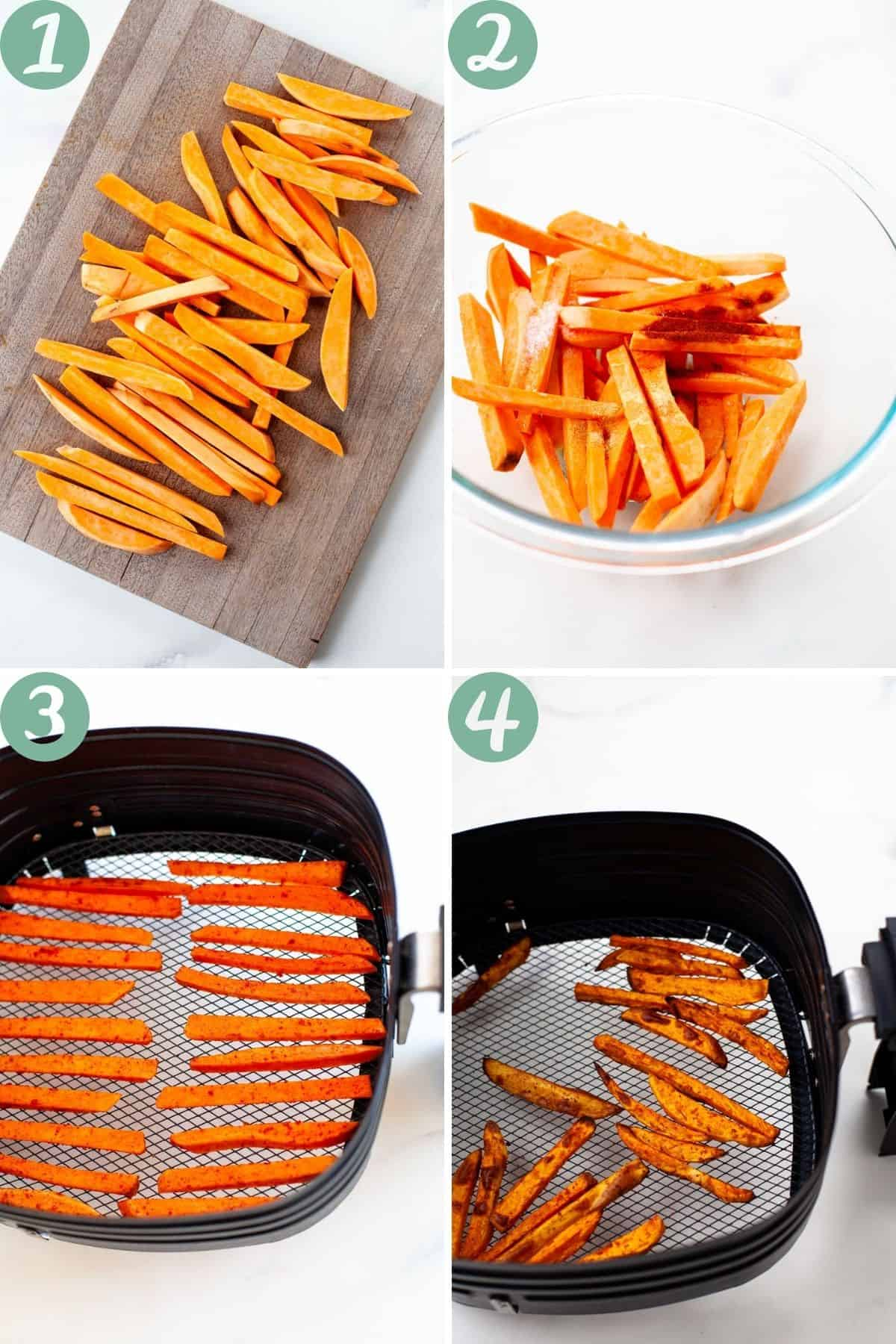 step by step process to make air fryer sweet potato fries wedges cutting board clear bowl