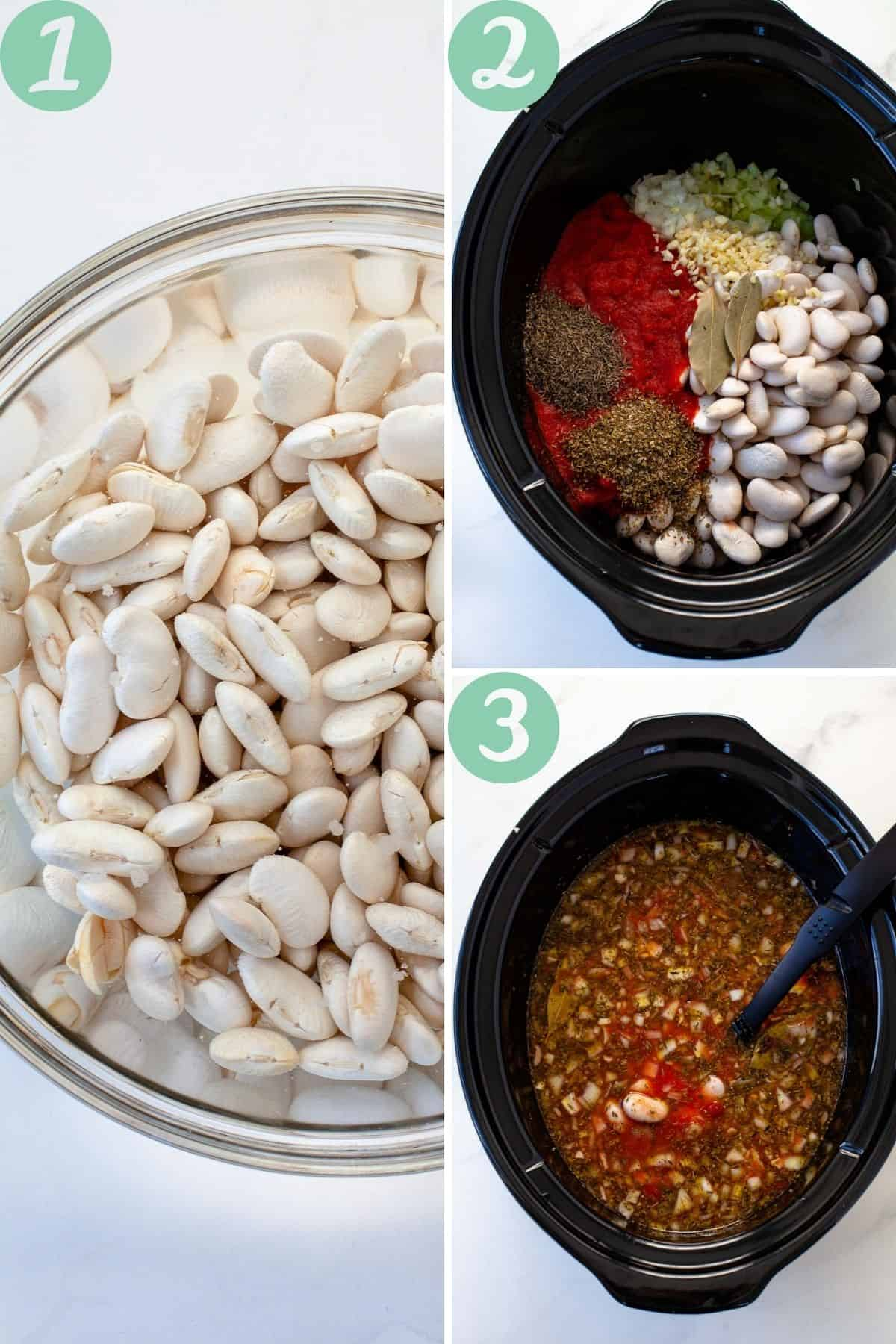 step by step slow cooker greek baked beans white background slow cooker ingredients gigantes beans