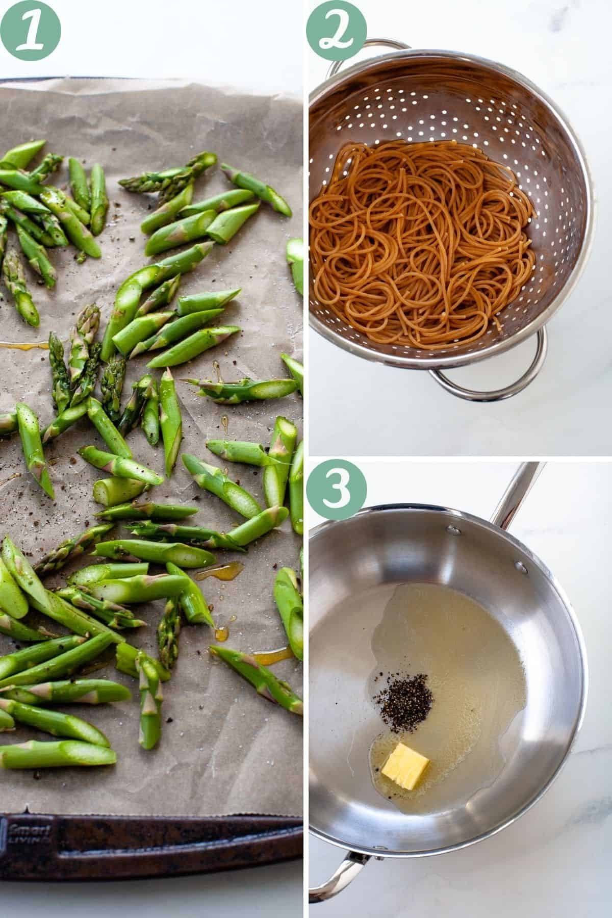 spring vegetable pasta step by step ingredients oven roasted pasta strainer butter in pan