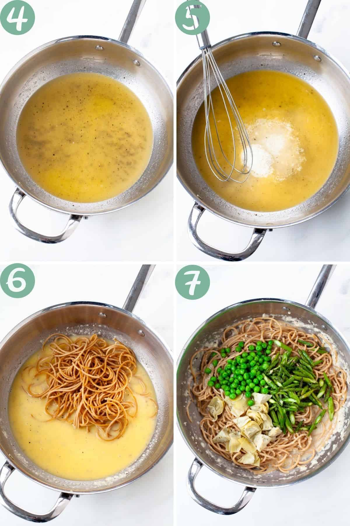 spring vegetable pasta step by step ingredients pasta water whisk in cheese add asparagus peas artichoke