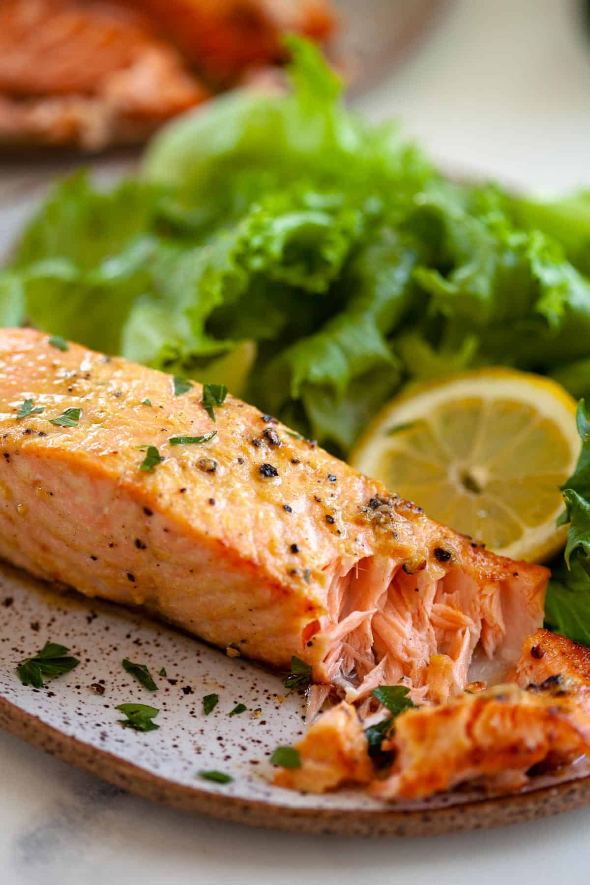 air fryer salmon fresh and frozen salmon fillet flakes plated with lemon slice and lettuce