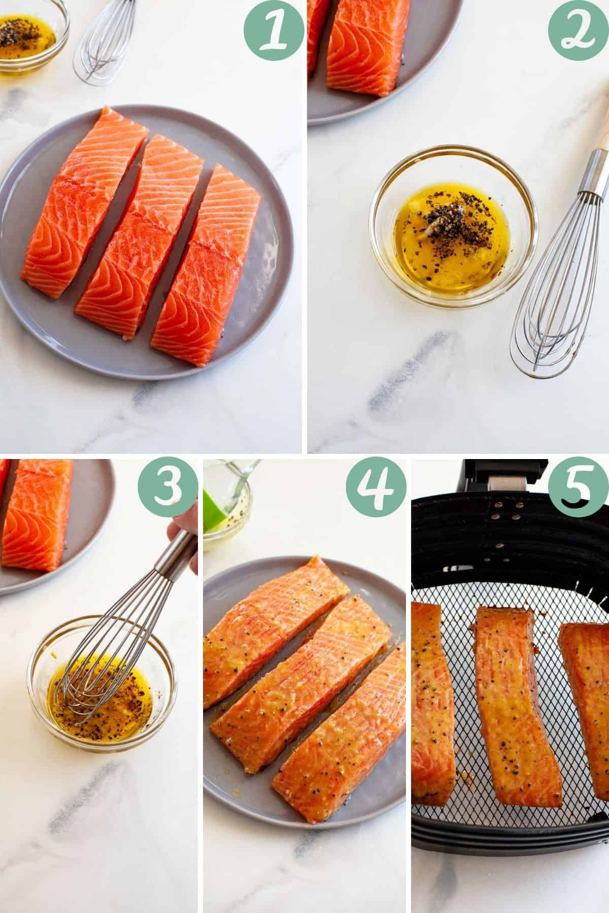 air fryer salmon fresh frozen step by step cooking process whisk marinade salmon in air fryer