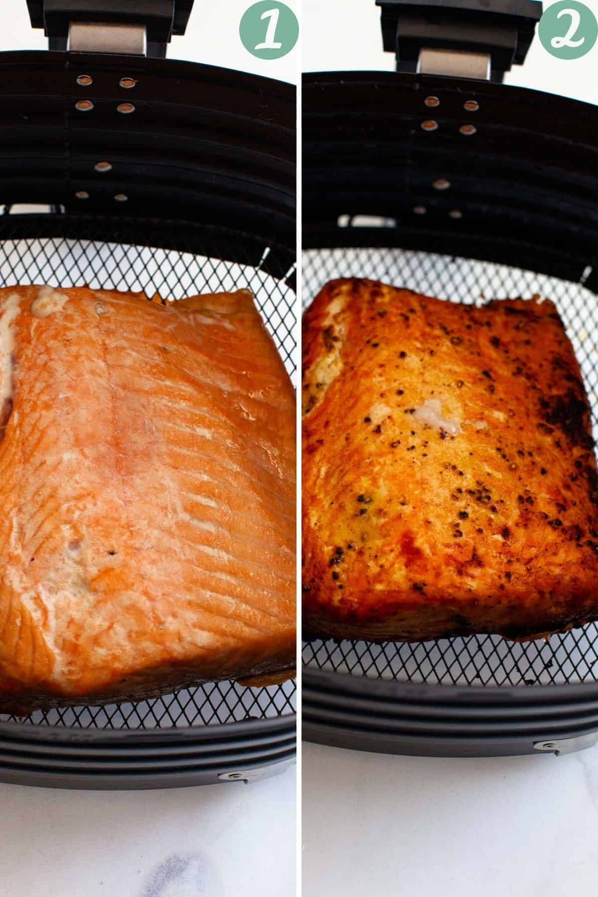 air fryer salmon fillets fresh and frozen in air fryer before and after cooking instructions