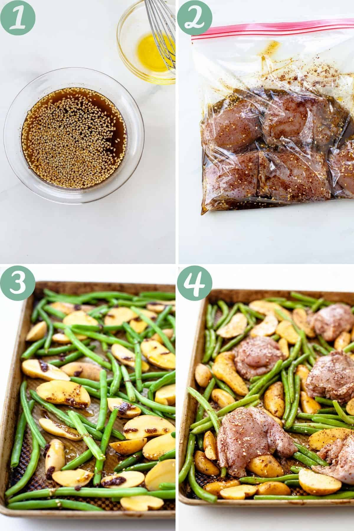 step by step process marinating chicken green beans fingerling potatoes and chicken thighs on sheet pan