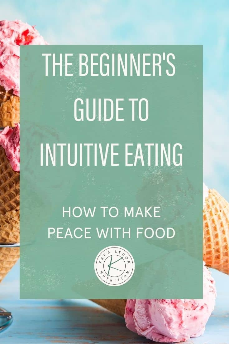 Feature Graphic: the beginner's guide to intuitive eating, how to make peace with food